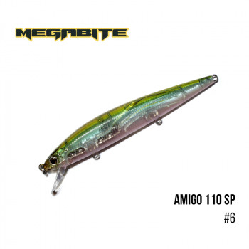 Воблер Megabite  Amigo 110 SP 110mm 14.3g до 1m 6