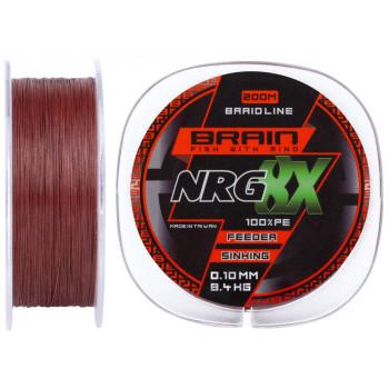Шнур Brain NRG 8X sinking 200m 0.10mm 8.4kg ц:brown