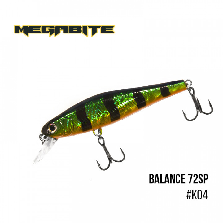 Воблер Megabite Balance 72 SP 72mm 6.9g до 1m K04