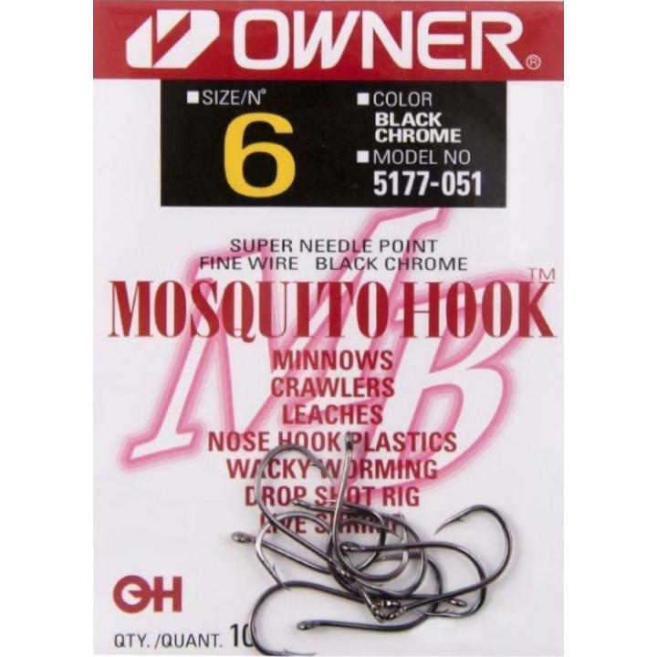 Крючок Owner 5177 кольцо Black Chrome Mosquito 10 12шт.