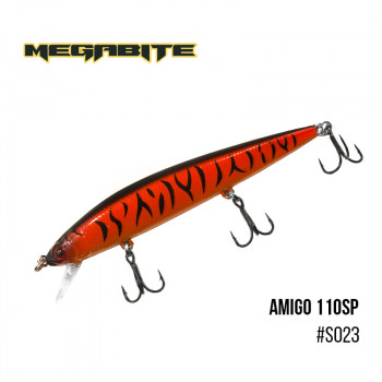 Воблер Megabite  Amigo 110 SP 110mm 14.3g до 1m S023