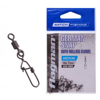 Flagman фидерная застежка с вертлюгом German snap M