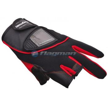 FLAGMAN Перчатки спиннингиста обрез три пальца S08 BLACK & RED