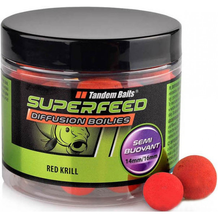 Бойлы Tandem Baits Super Feed Diffusion Boilies 14mm/16mm Mix 90g Red Krill