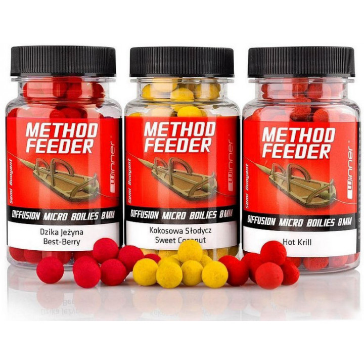 Бойлы Winner Method Feeder Diffusion Pop-Up Micro Boilies 8mm 40g Apple Mousse
