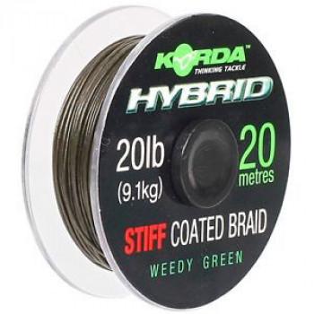 Плетеный лидер Korda Hybrid Stiff 20m 20lb Weedy Green