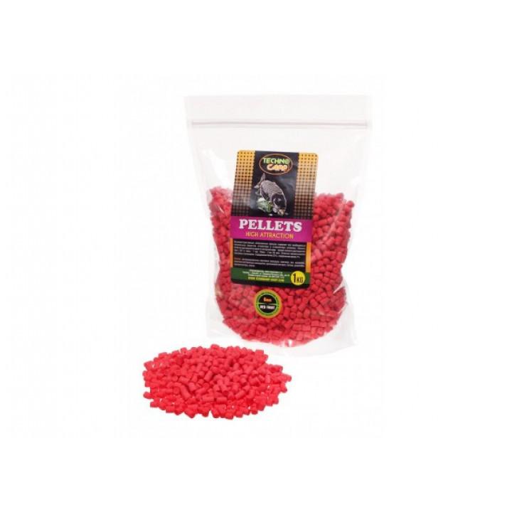 Пеллетc Технокарп Flavored Carp Pellets 1kg 6mm Red Fruit