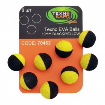 Бойлы Технокарп Texno Eva Balls 8шт. 10mm Чёрный/Жёлтый