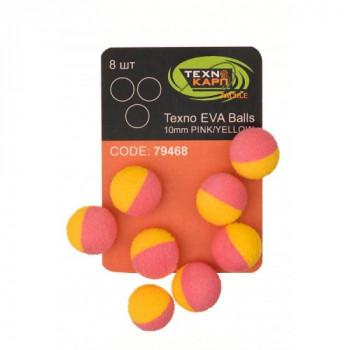 Бойлы Технокарп Texno Eva Balls 8шт. 10mm Розово/Жёлтый