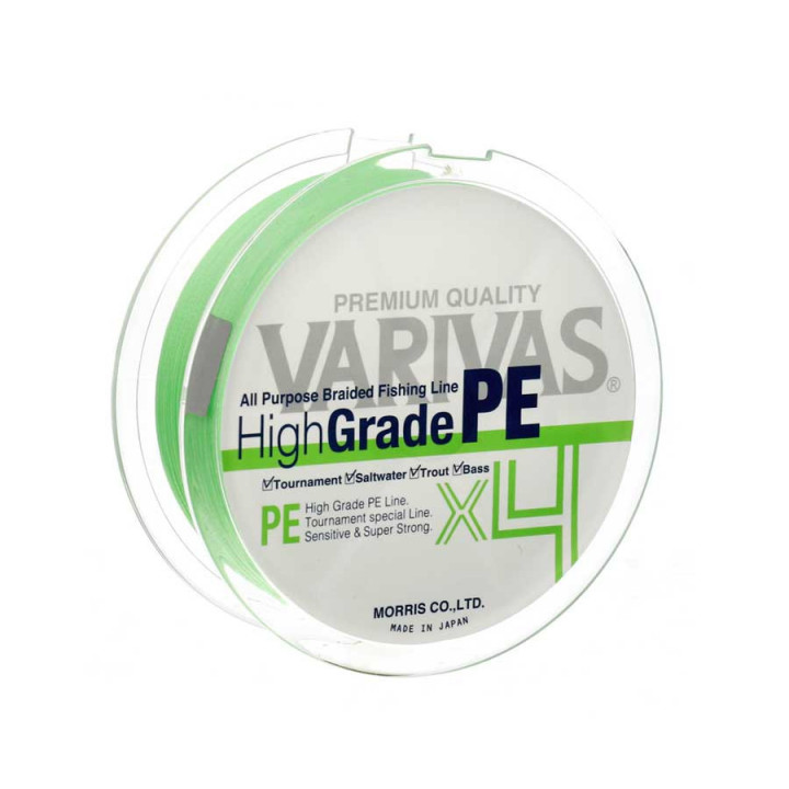 Шнур Varivas High Grade PE X4 150m 0.165mm 8.1kg Flash Green
