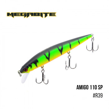 Воблер Megabite  Amigo 110 SP 110mm 14.3g до 1m R39