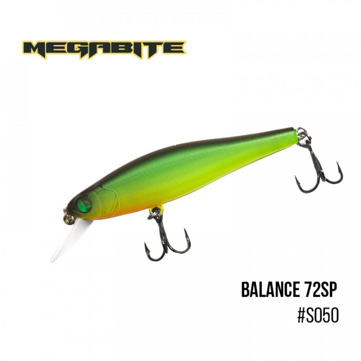 Воблер Megabite Balance 72 SP 72mm 6.9g до 1m S050