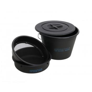 Ведро с крышкой для прикормки + таз + сито Flagman Armadale Bucket Set With Plastic Riddle 25L